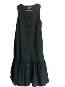 Aust Designer gorman Size 8 10 12 S M Green Sleeveless Smock Drop Waist Dress
