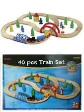 WOODEN TRAIN SET 40 piece Wooden Railway Train Track 100% Hardwood - toy