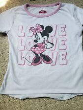 Disney Minnie Mouse Ringer Tee Toddler Girl 3T Love good condition, pink white