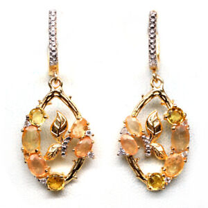 NATURAL HEATED YELLOW SAPPHIRE, CITRINE & CZ 925 STERLING SILVER EARRINGS