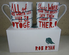 2 NEW IN BOX Rob Ryan Wild & Wolf HIS N HER SET COFFEE MUG Love Heart Romantic