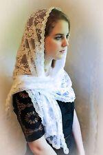 Evintage Veils~ Petal White Floral Lace Chapel Veil Scarf Mantilla