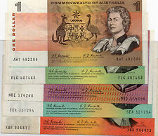 1967 AUSTRALIAN NOTES COOMBS/RANDALL FULL SET $1, $2 , $5 ,$10, $20 VF+C/V $1800