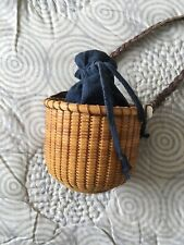 Vintage Unique Tiny Round Nantucket Basket Purse by Terry Sylvia 1997 Signed