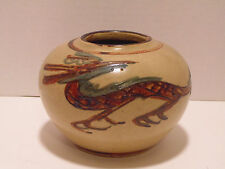 VINTAGE STUDIO ART POTTERY VASE - ASIAN - DRAGON - FIRE - HAND PAINTED - UNIQUE