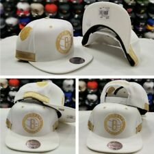 New Mitchell and Ness NBA White / Gold Brooklyn Nets Adjustable snapback Hat Cap