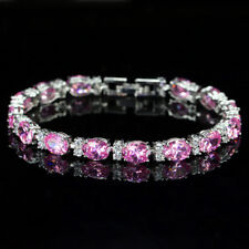 6mmx8mm Oval Round Pink Sapphire Cubic Zirconia CZ White Gold Plated Chain