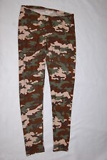 Womens Leggings GREEN BROWN CAMO Camouflage Print SIZE L 12-14