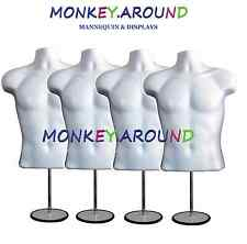 4 Mannequins + 4 Hooks 4 Stands, Male Dress Model White Form - Display Clothing
