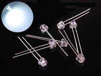 s385-20 piezas 5mm LED BLANCO TRANSPARENTE CABEZA corta Paja HA plana