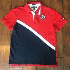 VTG Tommy Hilfiger Color Logo Crest Patch Polo Mens Medium Custom Fit Red Blue
