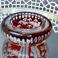 Bohemian Cut to Clear Ash Tray Ruby Red Czech Art Glass Dish #EL4