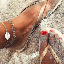Anklet Chain Beach Foot Jewelry Gift 2Pcs Shell Chain Bracelet Barefoot Sandal
