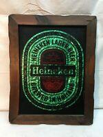 Vintage Heineken Lager Beer Wood Framed Glass Sign Green Aluminum color 15x 18.5