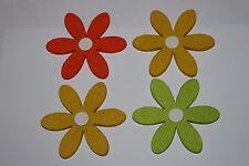 4 fleurs en feutrine à coudre ou à coller ( 9 cm de diamètre)