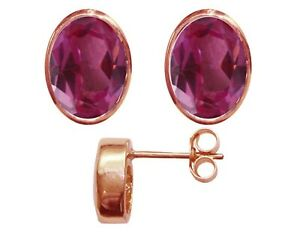 9ct Rose Gold Natural Pink Topaz Oval Stud Earrings 3.00ct Studs British Made