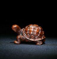 collect Japanese boxwood carve Turtle longevity tortoise statue netsuke figurine