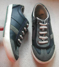 Clarks Boys Blue / grey leather shoes fixed elastic laces +zip UK 10.5 G EU28.5W