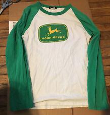 John Deere Vintage Ling Sleeve Shirt White/Green Tractor Country Farm Boy