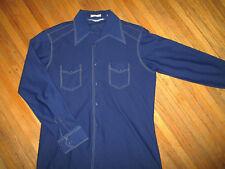 Vintage 1970s Poliéster Camisa Azul Concrast Inversa Puntadas Capri Disco