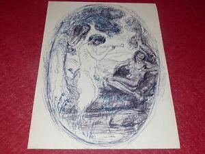 Drawing Original Sign Gerardo Dicrola Ink Blue 1986 Wildlife & 2 Women Nude