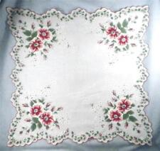 Vintage Hankie Pink Red White Roses Rose Flowers Cotton Retro 1950s 16in. #3