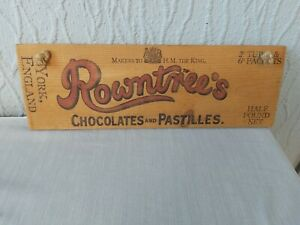 OLD ROWNTREES WOODEN SIGN Chocolates & Pastilles