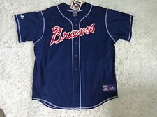 Atlanta Braves Cooperstown Jersey Old School All Sewn by Majestic Blue  ( XL )