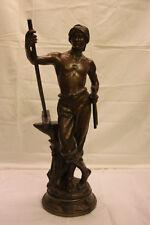 """ANTOINE BOFFIL (1875 -1925) STATUE BRONZE """"LE TRAVAIL"""".signé , titré. HAUT. 61cm"""