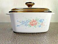 Vintage Corning Ware Symphony A-1-B 1 Liter Casserole Dish /& Lid Pink Flower