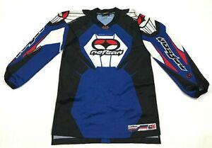 Vintage No Fear Elektron Motocross Jersey Youth Größe Groß Blau Langärmelig 90's