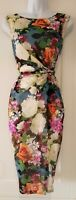 Womens Phase Eight Stretch Ruched Gathered Botanical Feminine Bodycon Dress 10.