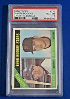 1966 TOPPS GIANTS ROOKIES Jack Hiatt / Dick Estelle BASEBALL CARD #373 ~ PSA 8