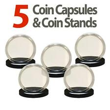 5 Coin Capsules & 5 Coin Stands for 1oz SILVER or COPPER ROUNDS Airtight H39
