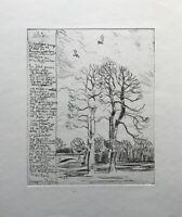 Radierung Winterlandschaft mit Bäumen und Vögeln 23,7 x 28,2 cm