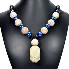 Dragon's Vein Agate & Moro Rock Pendant Necklace Handmade Gemstone Jewellery UK