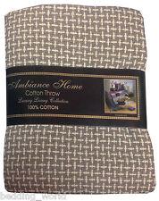 130cm x 180cm basket weave grey throw cream brown sofa blanket tassel bedspread