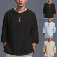 Men's Long Sleeve Cotton Linen Casual Baggy Shirts Yoga Beach Tops Blouse Tee US
