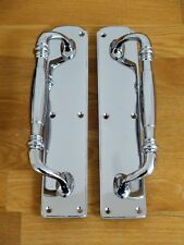"1st PAIR 12"" HEAVY CHROME DOOR PULL HANDLES PLATES KNOBS GRAB"