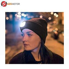 Unisex 4 LED Lighted Caps USB Rechargeable Headlamp Headlight Beanie Hat