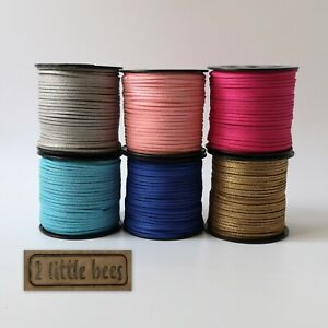 Flat Suede Leather Cord Glitter Shimer Thong Jewellery String Craft Velvet