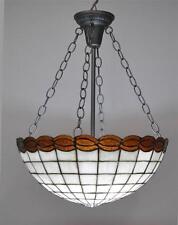 VINTAGE  LEADED GLASS CHANDELIER LIGHT FIXTURE AMBER CREAM