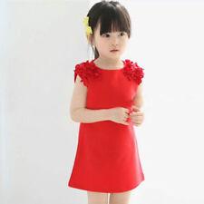 Children Girls Dress New Kids Sleeveless Flower Party Dresses Ages 3-11 Years