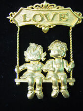 """JJ"" Jonette Jewelry Gold Pewter 'LOVE ~ Boy & Girl on Swing' Pin"