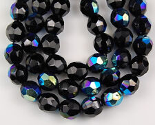 10mm Czech Round Faceted Jet Black AB Loose Craft Jewelry Glass Beads 25pcs