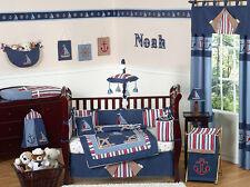 Cheap Navy Blue Nautical Sail Boat Themed 9p Baby Boy Crib Bedding Comforter Set