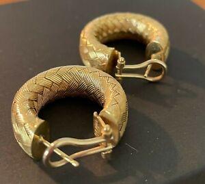 """VINTAGE 14K ITALY  Gold 1""""  Basketweave Hoop Earrings 12 Grams"""