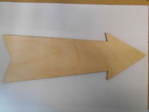 Arrow Sign Plaque, x 3, no holes, 3mm thick Birch Plywood