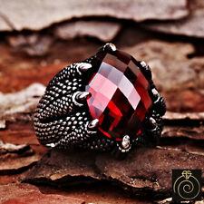 Red Quartz Ruby Stone Claw Goth Men Statement Ring Vintage Silver Unique Jewelry