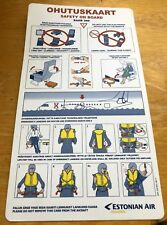 Estonian Air DEFUNCT Airlines SAAB 340 Safety Card